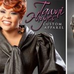Actress & Recording Artist Tamela Mann in a Tawni Haynes Leather Bow Pencil Dress ($715), Tawni Haynes Edition OMG Accessories, Ring $35, Earrings $25