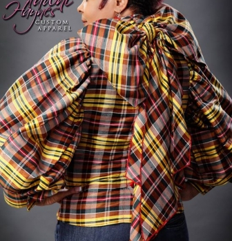 Johnnie Johnson in a Backwards Bow Blouse made of raw Dupioni Silk ($385)