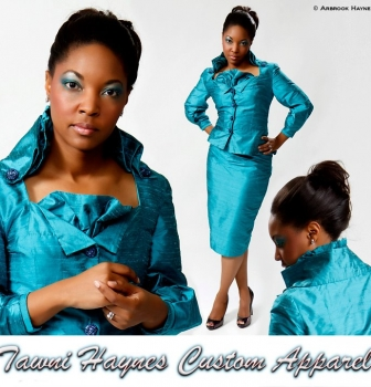 est $800. Custom Dupiani Silk Embellished Suit with Ruffle Detailing