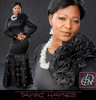 Tawni Haynes Custom-Made Evening Gown /w Petal details