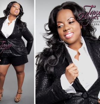 Tawni Haynes Custom Made Sequins Blazer ($450) and Sequin Shorts ($335)