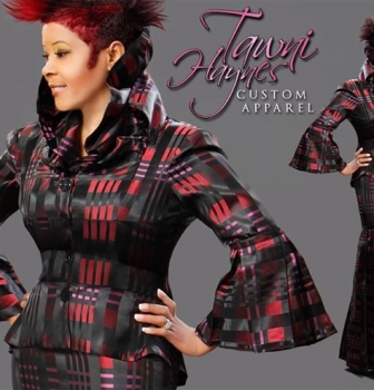 Tawni Haynes Custom Made High Collar Pleated Suit ($725)