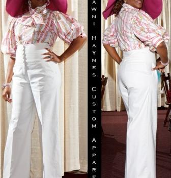 est. $275 Signature Bow Blouse $300 Custom High-Waist, Wide-Leg Slacks