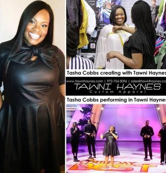 tasha Cobbs in a custom Tawni Haynes Leather Bow Swing Dress