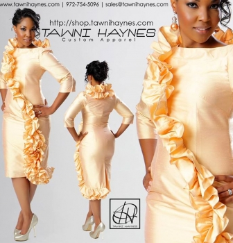 Tawni Haynes Ruffle Pencil Dress available in various colors