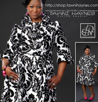 Tawni Haynes White & Black Damask Brocade Trench Dress