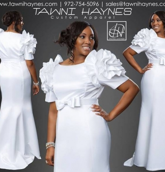 Tawni Haynes White Rosette Shoulder Gown