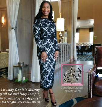 1st Lady Daniele Murray in Tea Length Lace Pencil Dress