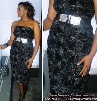 $425 LadyStephanie Jackson in a custom rose cocktail dress