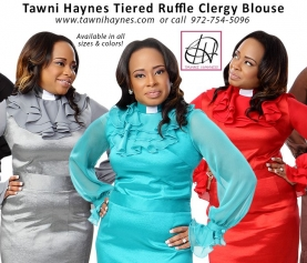 Tiered Ruffle Clergy Blouse
